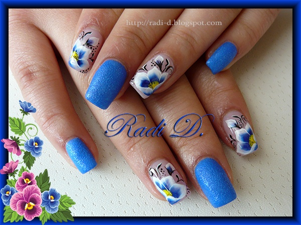 Blue Sand & One Stroke Flowers