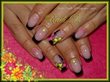 Black French with Neon Flowers & Studs