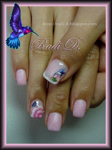 Humming bird, butterfly & flower