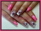 Pink gel polish & Flowers