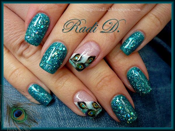 Peacock Feathers & Glitter gel polish