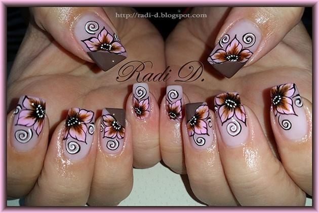 Brown & Pink one stroke flowers