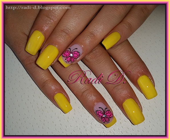 Yellow with Hot Pink Butterflies