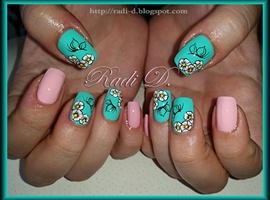 nail art: Mint & Pink