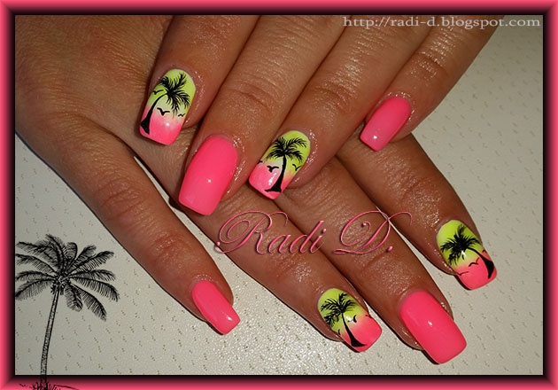 Neon gel polish and Palm trees - Nail Art Gallery