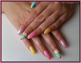 Long Almond Nails in Pastel colors