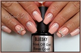 Nude pink gel polish with glitter and 3d