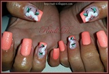 Orange neon sand polish with flowers
