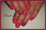 Glitter pink gel polish