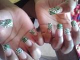 (Same nails) Zebra/Cheetah in green