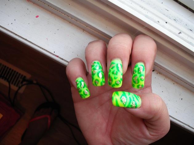 neon to lime green gradient animal print