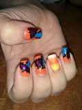 Patchwork and Candycorn Halloween Mani