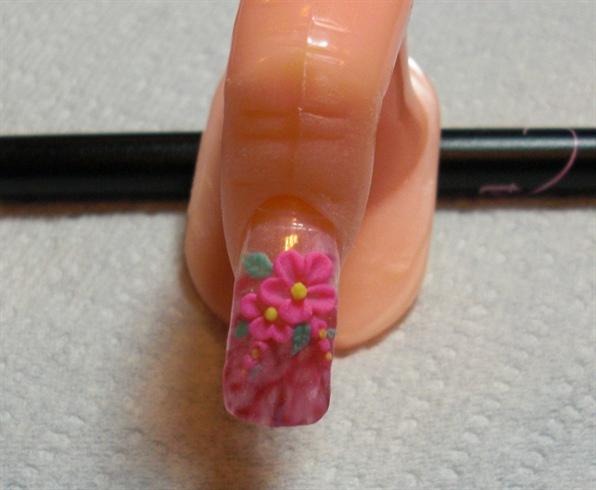 acrylic flower over gel polish