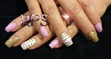 Orchid Hearts and Gold Stripes
