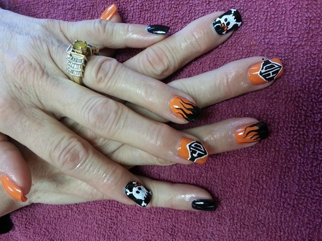 Black and Orange Harley Davidson Nails with Flames, Skulls, and HD ...