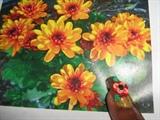 Fall Flower Nail Design