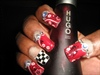 Bandana Ribbons & Checkers Nail Design