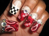 Bandana Ribbons & Checkers Nail Design