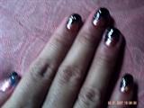 black@pink abstract design nail art...