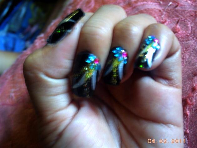 black w/ rhymes stone and glitter art