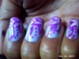 white and violet flower nail art design