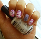 Pink Flower Stamping over white