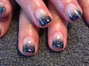 Black gel polish fade with glitter