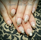 sculpted Tammy Taylor new cover it up Peach with Gold N Glitz acrylic on the tips