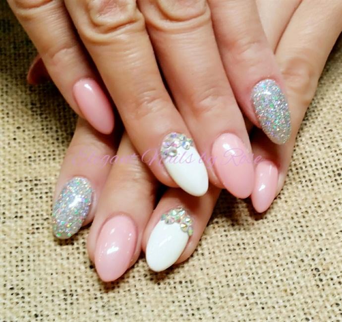 Halo Glitter Pink And White Acrylic No Polish Nail Art Gallery