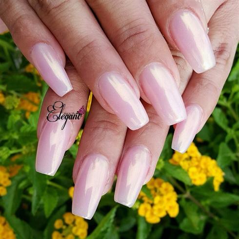 Pink acrylic, gold metallic