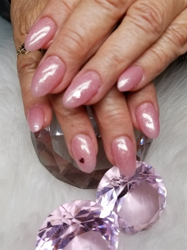 Almond shaped sculpted nails