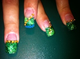 Green and blue glitter
