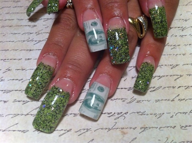 Green glitter money nail nail art gallery green glitter money nail prinsesfo Images