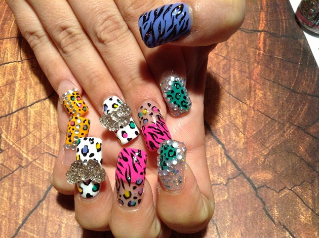Neon cheetah , zebra