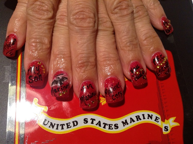 Marine hand painted nails
