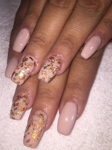 Nude Colors With Foil  Fall Nails