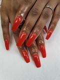 Red/Orange Dipping Powder Nails