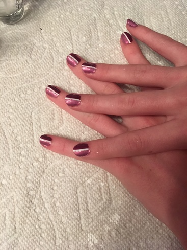 Two-Toned Purple Half And Half Nails