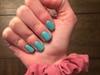 Teal Gel Manicure Sparkle Nails