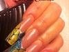 Long Abstract Yellow Square Nails