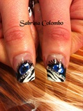 Gel Blu Zebra Nails