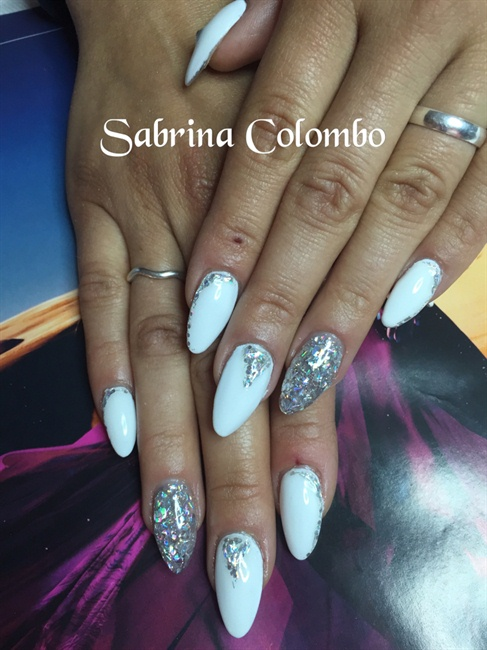White Almond Gel Nails - Nail Art Gallery