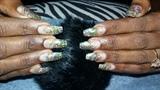 Coffin glitter mix gel nails