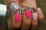 Silver & pink leopard