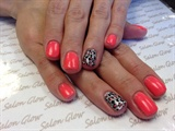 Coral and silver leopard