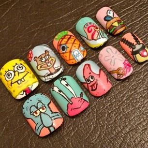 Nail Art Gallery Spongebob Nail Art Photos
