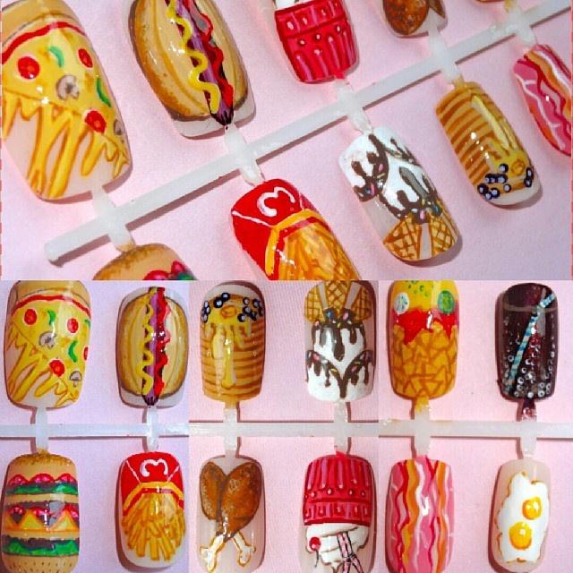 Junk Food Fast Food Nail Art On Press Nail Art Gallery