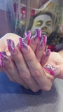 edge nails with handpainting and fishnet