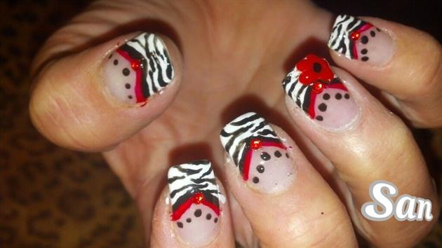 Redblack white zebra