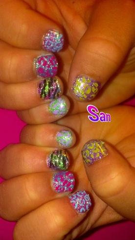 Neon Glitter Kids Nails